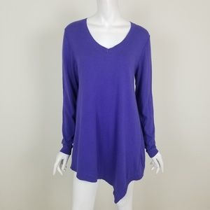 LOGO Cotton Cashmere Asymmetrical Hem Tunic Top M